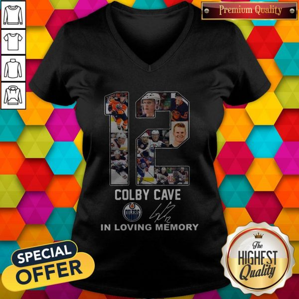 12 Colby Cave Oilers In Loving Memory Signature Halloween V-neck