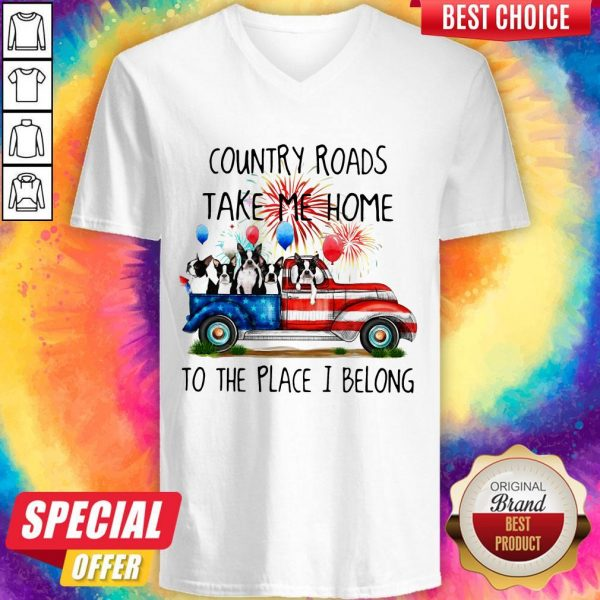 Boston Terrier American Flag 4th Of July 2020 Country Roads Take Me Home To The Place I Blong V-neck