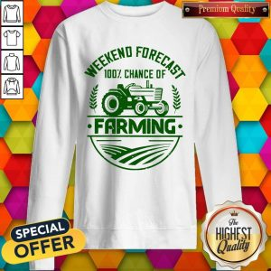Premium Famer Weekend Forecast 100% Chance Of Farming Sweatshirt
