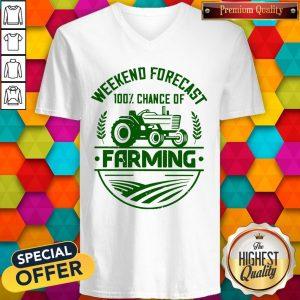 Premium Famer Weekend Forecast 100% Chance Of Farming V-neck