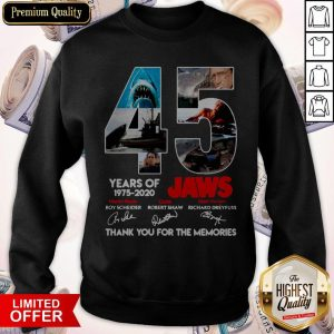 45 Years Of 1975 2020 Jaws Thank You For The Memories Signatures Sweatshirt