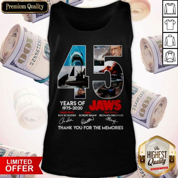 45 Years Of 1975 2020 Jaws Thank You For The Memories Signatures Tank Top