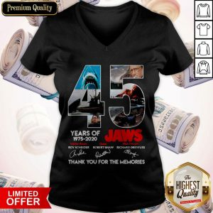 45 Years Of 1975 2020 Jaws Thank You For The Memories Signatures V-neck