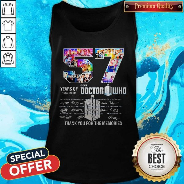 57 Years Of 1963 2020 Doctor Who Thank You For The Memories Signatures Tank Top