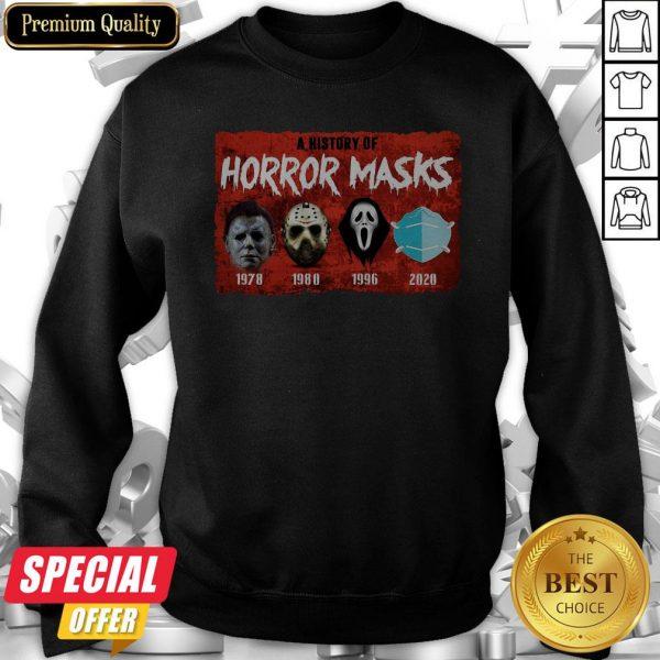 A History Of Horror Masks 1976 1980 1996 2020 Sweatshirt