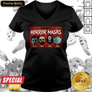 A History Of Horror Masks 1976 1980 1996 2020 V-neck