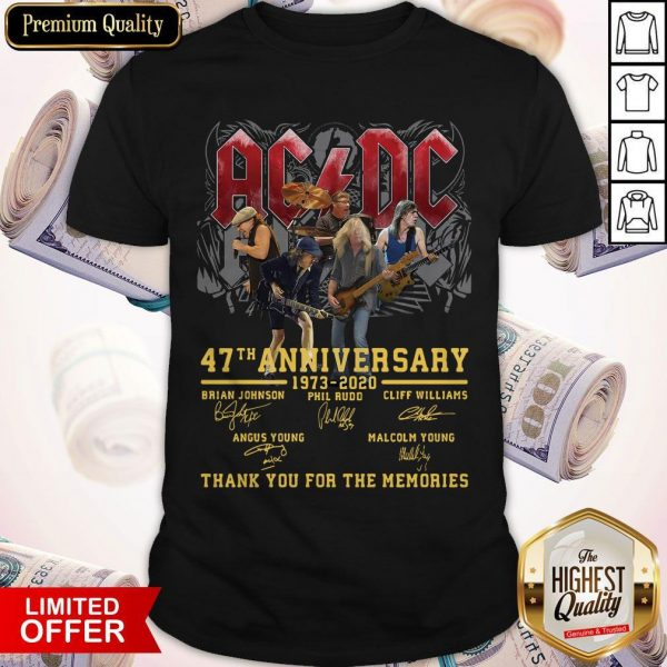 AC DC 47th Anniversary 1973 2020 Thank You For The Memories Signatures Shirt