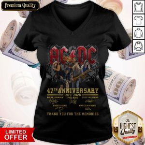 AC DC 47th Anniversary 1973 2020 Thank You For The Memories Signatures V-neck