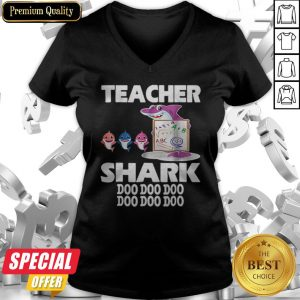 Awesome Teacher Shark Doo Doo Doo Cute Gift For Teacher V-neck