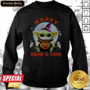 Baby Yoda Hug Pumpkin Happy Quar-o-teen Halloween Sweatshirt