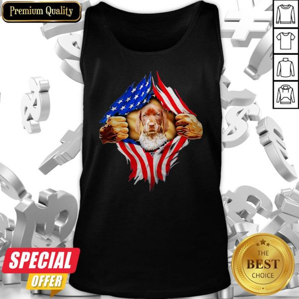 Blood Inside Me German Shorthaired Pointer American Flag Tank Top