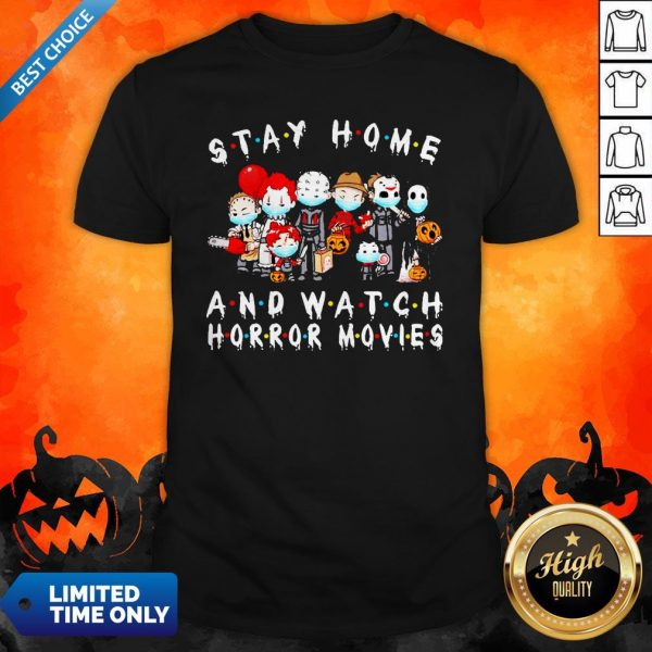 Horror Movie Character Chibi Stay Home And Watch Horror Movies Halloween Shirt