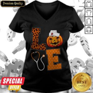 Love Nurse Pumpkin Halloween V-neck