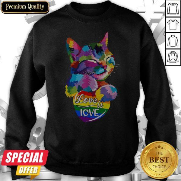 Nice Cat LGBT Love Is Love Sweatshirt