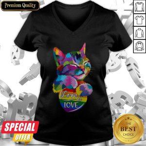 Nice Cat LGBT Love Is Love V-neck