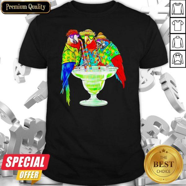 Nice Parrot Hawaii Drink Cotalk Shirt