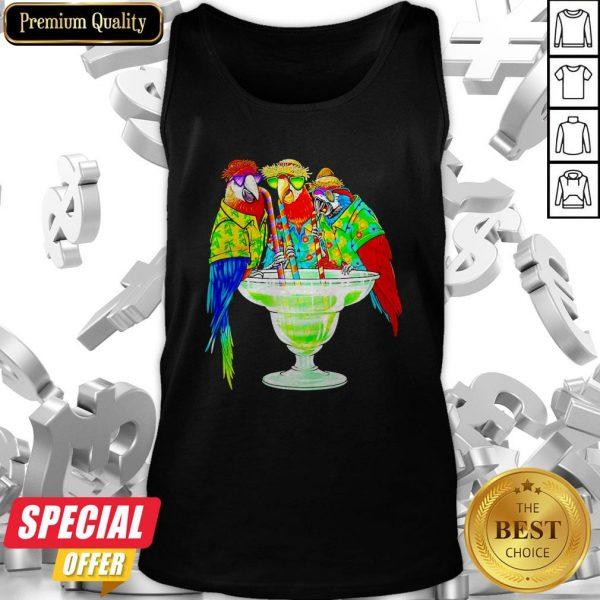 Nice Parrot Hawaii Drink Cotalk Tank Top