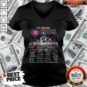 Official The Chicago Cubs 145TH Anniversary 1876 2021 Signatures V-neck