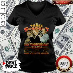 Official The Three Stooges 100TH Anniversary 1920 2020 Signatures V-neck