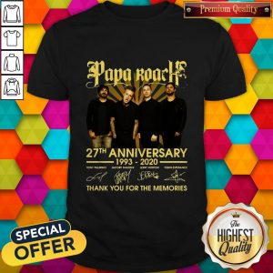 Papa Roach 27th Anniversary 1993-2020 Signatures Thank You For The Memories Shirt