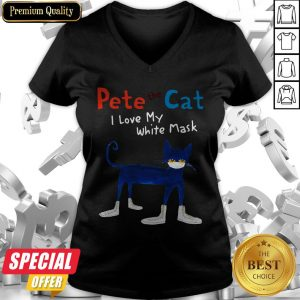 Pete The Cat I Love My White Mask V-neck