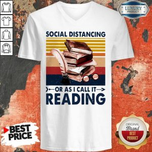 Social Distancing Or As I Call It Reading Vintage V-neck