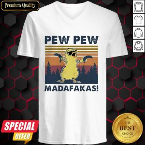 Baby Chicken Pew Pew Madafakas Vintage Retro V-neck