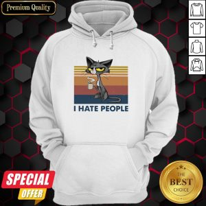 Black Cat Coffee I Hate Morning People And Mornings And People Vintage Retro Hoodie