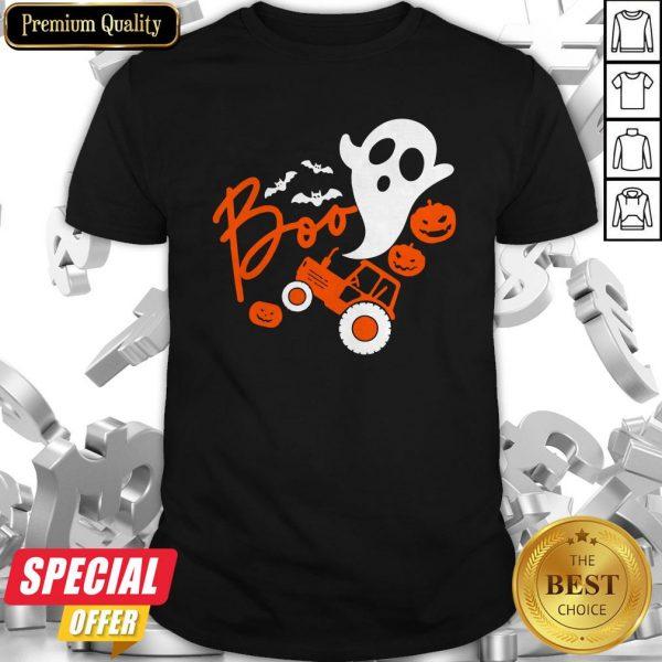 Boo Ghost Rider Tractor Farmer Pumpkin Halloween Costume Shirt