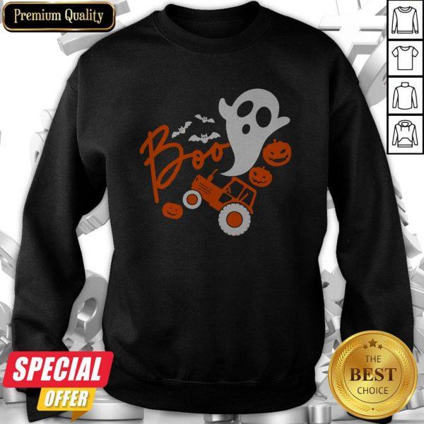 Boo Ghost Rider Tractor Farmer Pumpkin Halloween Costume Sweatshirt