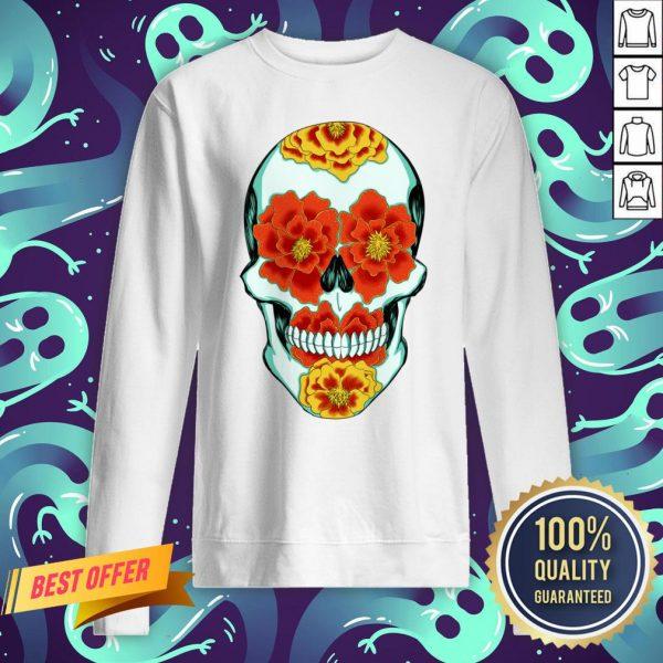 Calavera De La Calendula Flower Day Of The Dead Sweatshirt