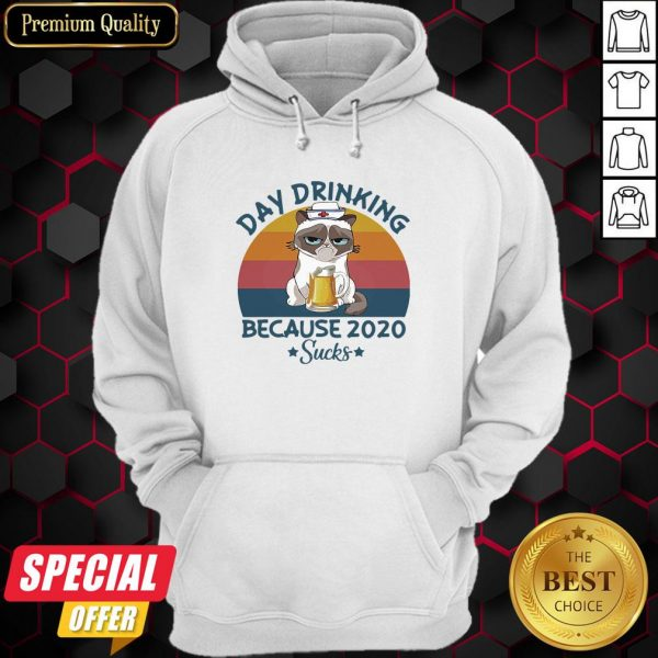 Cat Nurse Beer Day Drinking Because 2020 Sucks Vintage Retro Hoodie