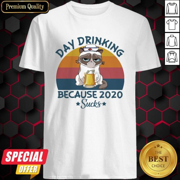 Cat Nurse Beer Day Drinking Because 2020 Sucks Vintage Retro Shirt