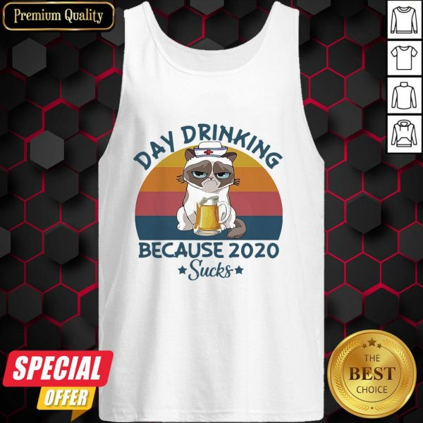 Cat Nurse Beer Day Drinking Because 2020 Sucks Vintage Retro Tank Top