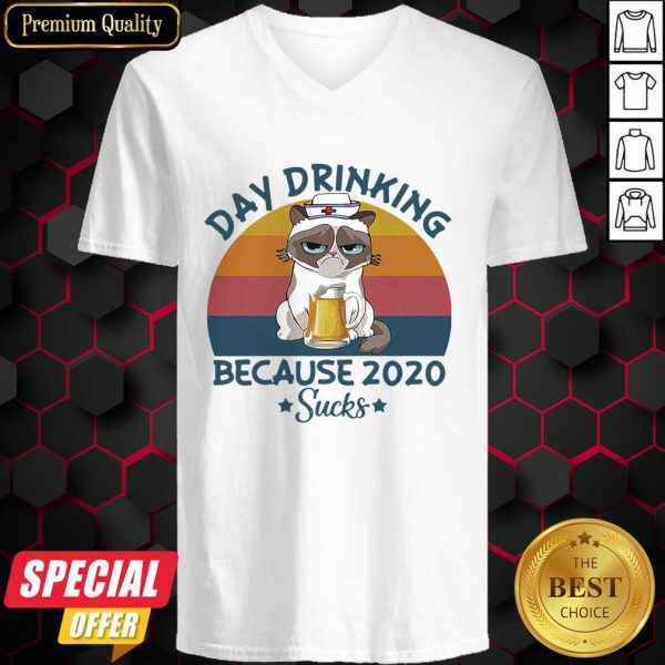 Cat Nurse Beer Day Drinking Because 2020 Sucks Vintage Retro V-neck