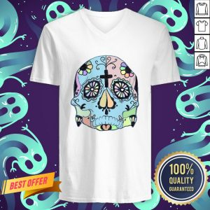 Day Of The Dead Dia De Los Muertos Psychedelic Pastel Sugar Skull V-neck