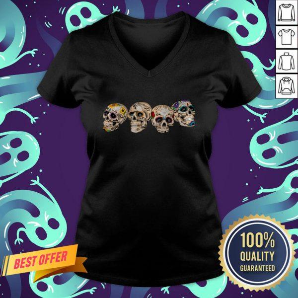 Day Of The Dead Dia De Los Muertos Sugar Skulls V-neck