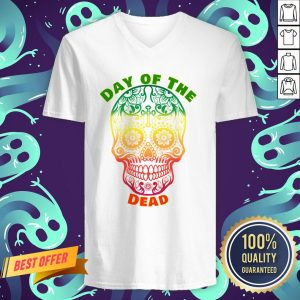 Day Of The Dead Muertos Sugar Skull Color V-neck