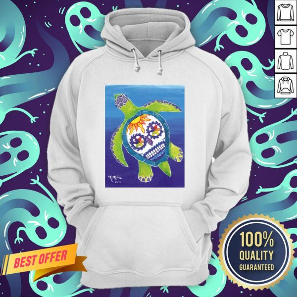 Day Of The Dead Sugar Skull Sea Turtle Hoodie