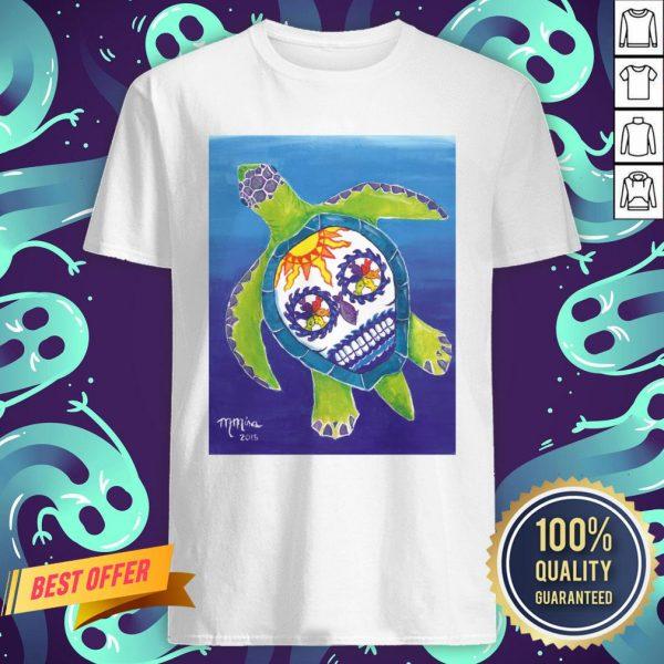 Day Of The Dead Sugar Skull Sea Turtle Shirt