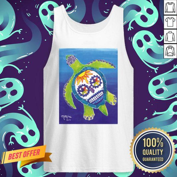 Day Of The Dead Sugar Skull Sea Turtle Tank Top