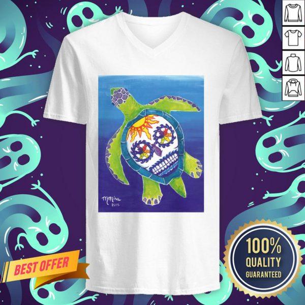 Day Of The Dead Sugar Skull Sea Turtle V-neck