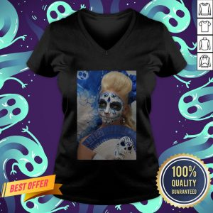Dia Des Los Muertos Sugar Skulls Girl Day Of The Dead V-neck