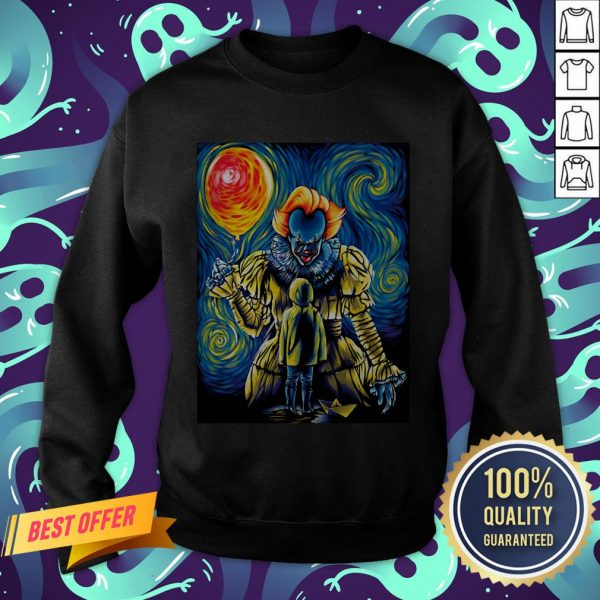 Halloween Pennywise Holding Balloon Starry Night Sweatshirt