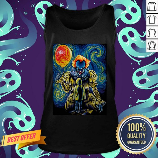 Halloween Pennywise Holding Balloon Starry Night Tank Top