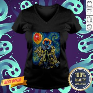 Halloween Pennywise Holding Balloon Starry Night V-neck