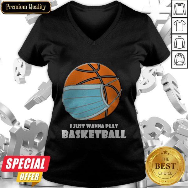 I Just Wanna Play Basketball Mask V-neck