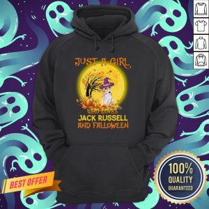 Just A Girl Who Loves Jack Russell And Falloween Pumpkin Sunset Halloween Hoodie