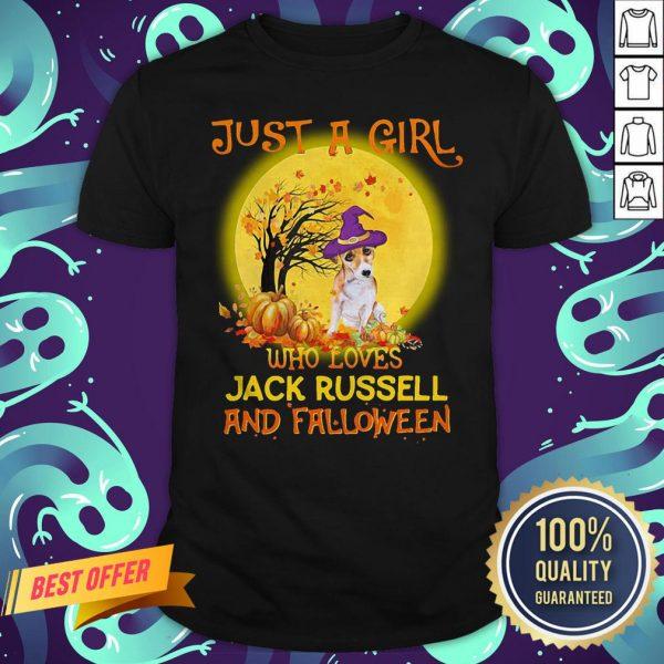 Just A Girl Who Loves Jack Russell And Falloween Pumpkin Sunset Halloween Shirt