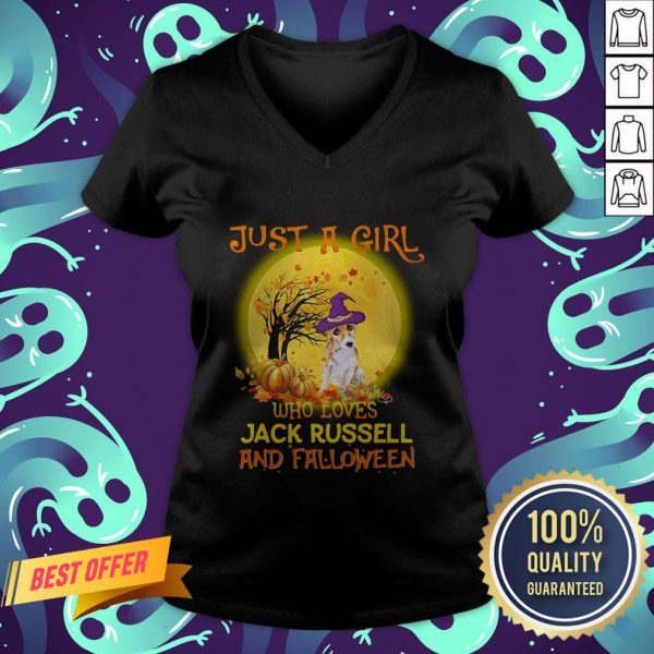 Just A Girl Who Loves Jack Russell And Falloween Pumpkin Sunset Halloween V-neck